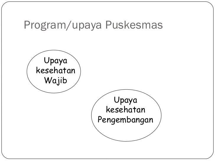 Program/upaya Puskesmas Upaya kesehatan Wajib Upaya kesehatan Pengembangan