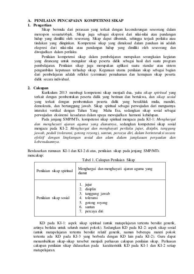 Penilaian Kompetensi Sikap Pada Kurikulum 2013