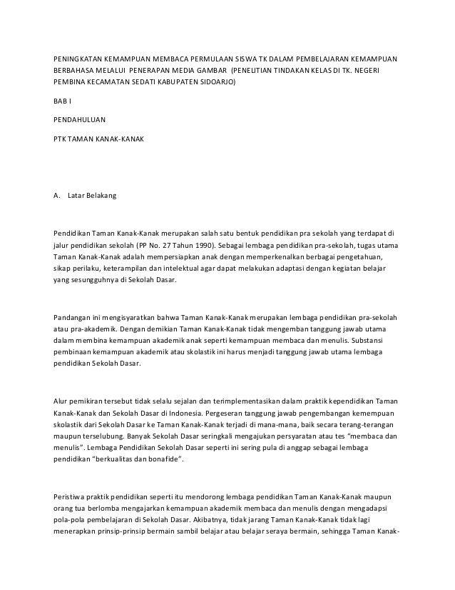 PENINGKATAN KEMAMPUAN MEMBACA PERMULAAN SISWA TK DALAM PEMBELAJARAN KEMAMPUAN BERBAHASA MELALUI PENERAPAN MEDIA GAMBAR (PE...