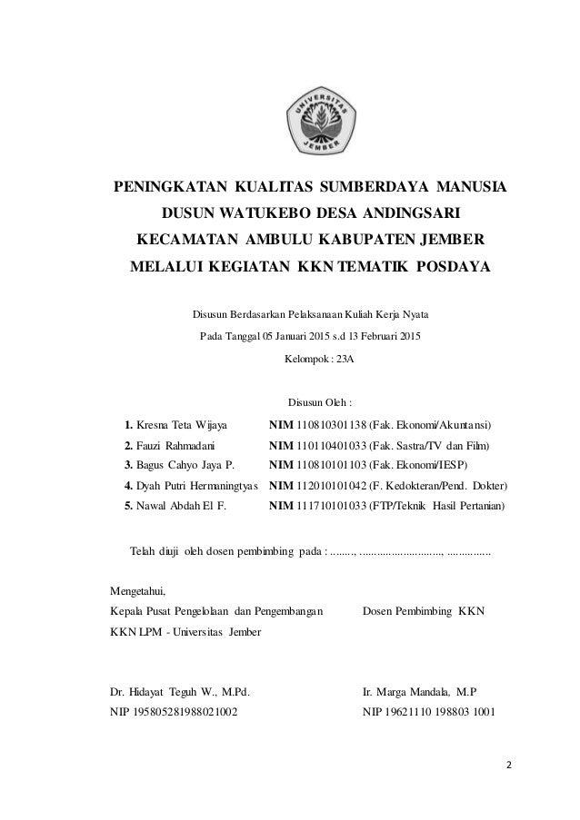 contoh laporan kkn individu fakultas ekonomi akuntansi