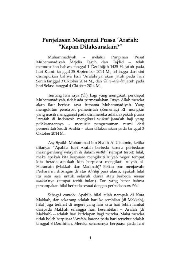"""1  Penjelasan Mengenai Puasa 'Arafah:  """"Kapan Dilaksanakan?""""  Muhammadiyah – melalui Pimpinan Pusat Muhammadiyah Majelis T..."""