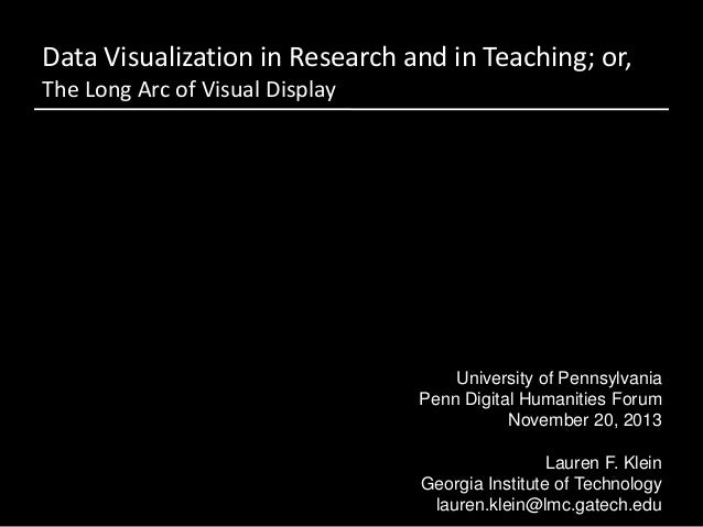 Data Visualization in Research and in Teaching; or, The Long Arc of Visual Display  University of Pennsylvania Penn Digita...