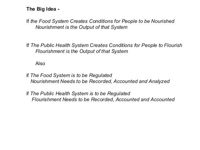 The Big Idea - If the Food System Creates Conditions for People to be Nourished Nourishment is the Output of that System I...