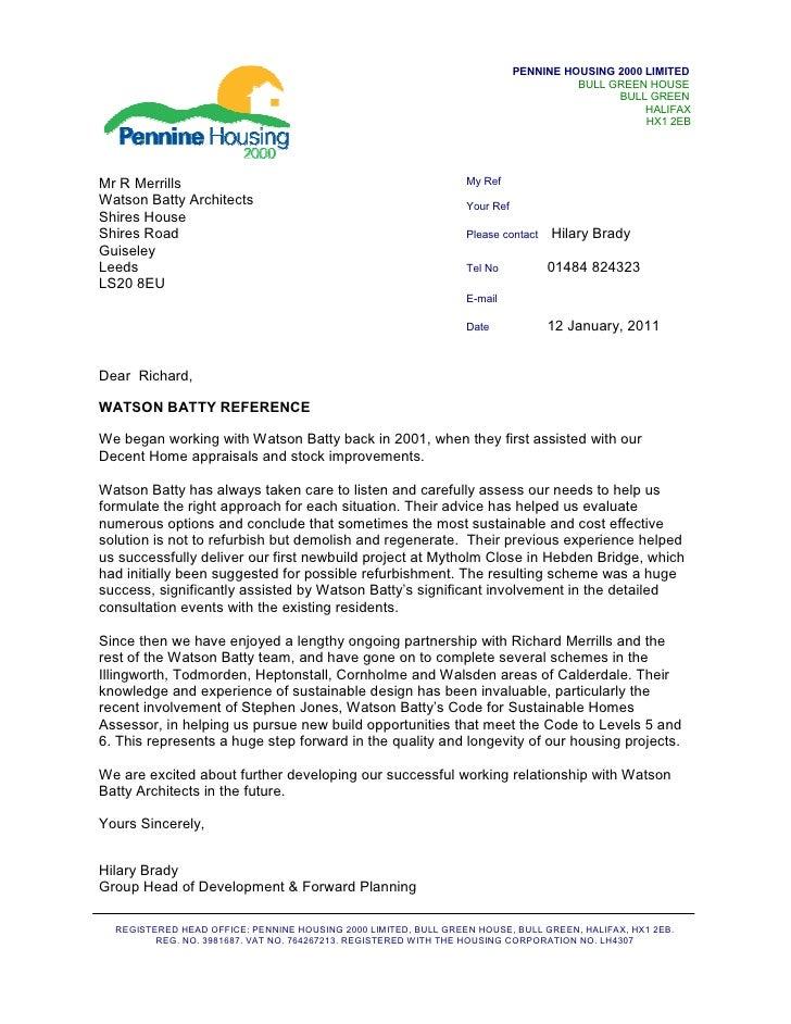 Pennine Housing 2000 Reference Letter