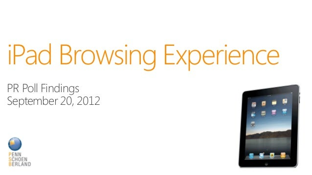 iPad Browsing ExperiencePR Poll FindingsSeptember 20, 2012