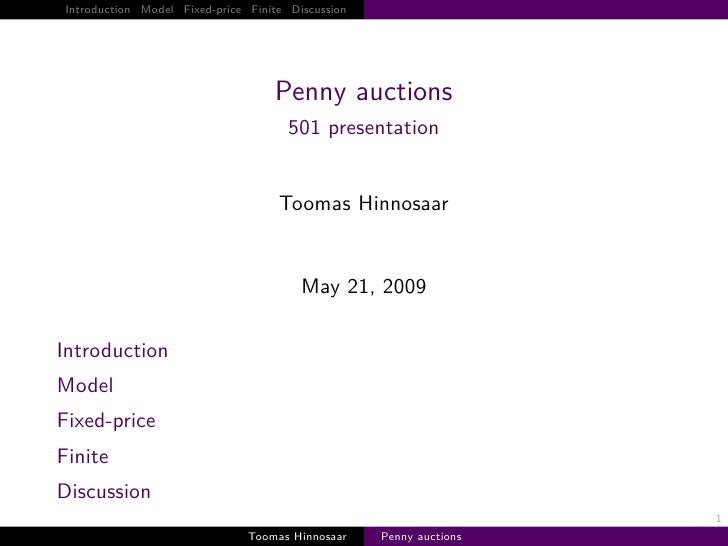 Introduction Model Fixed-price Finite Discussion                                         Penny auctions                   ...