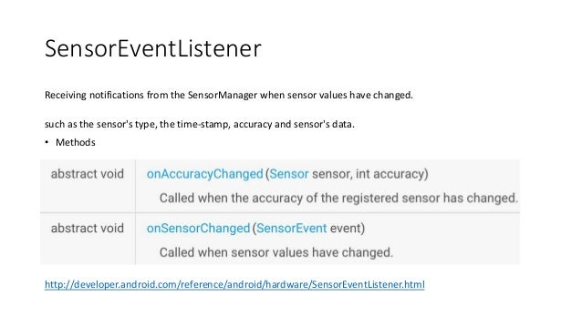 SensorEventListener Receiving notifications from the SensorManager when sensor values have changed. such as the sensor's t...