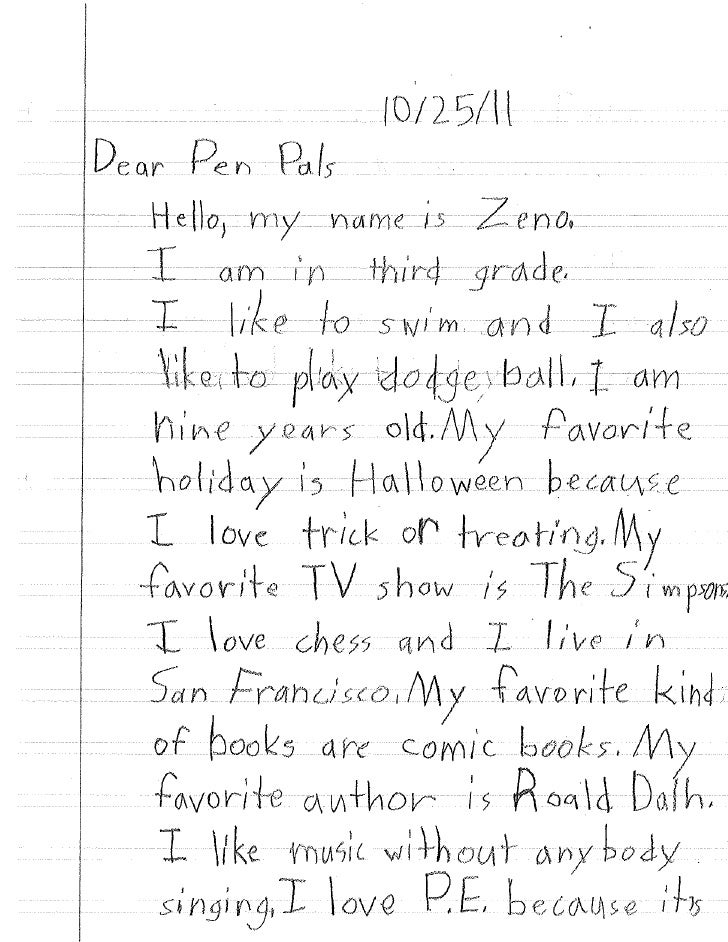 Pen Pal Letter Example.Pen Pal Letters 1 Terceito Trimestre