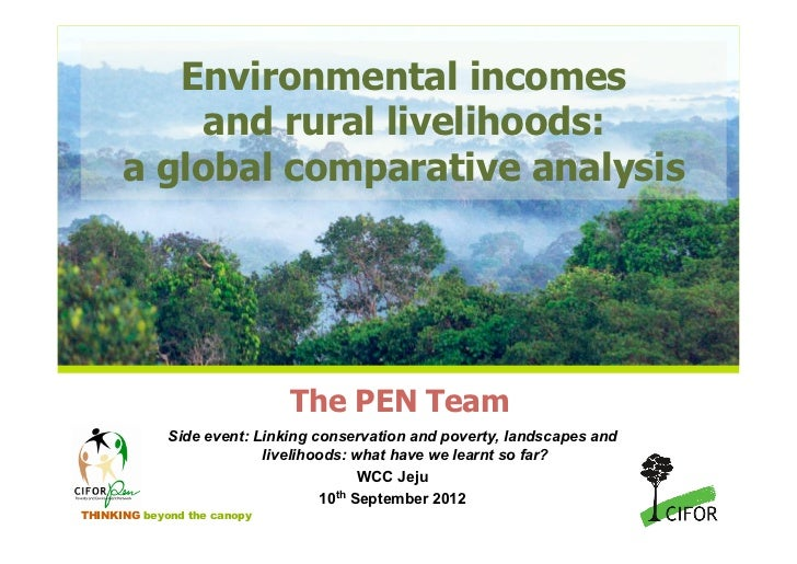 Environmental incomes          and rural livelihoods:      a global comparative analysis                             The P...