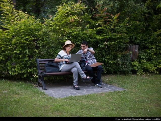 Guido Barindelli with Farah Jack Mustaklem. Photo Hadi,Wikimania Esino Lario, cc by-sa, 2016.