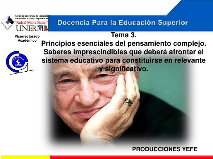 Vicerrectorado                        Tema 3.  Académico                 Principios esenciales del pensamiento complejo.  ...