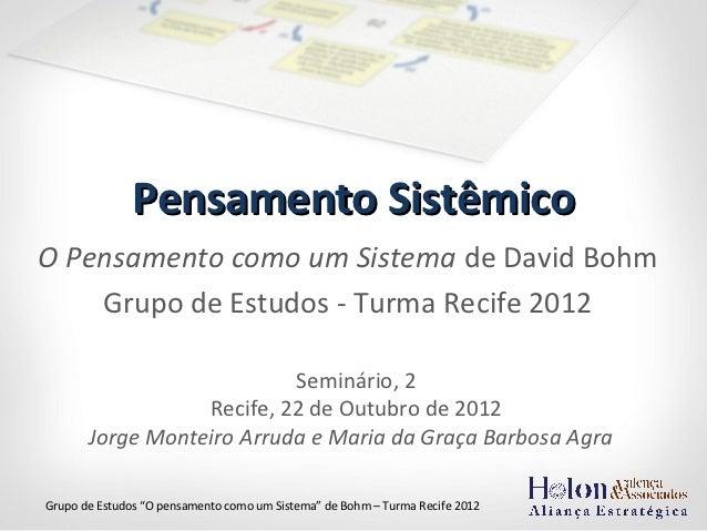 Pensamento SistêmicoO Pensamento como um Sistema de David Bohm    Grupo de Estudos - Turma Recife 2012                    ...