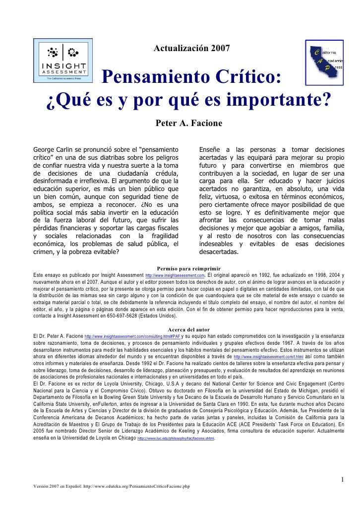 Actualización 2007               Pensamiento Crítico:       ¿Qué es y por qué es importante?                              ...