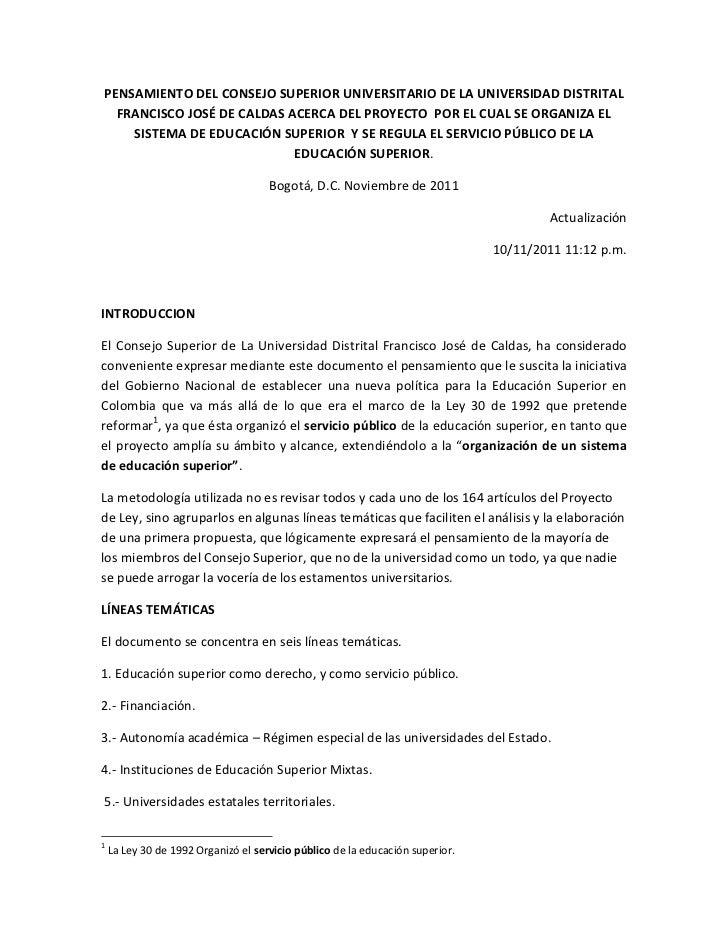 PENSAMIENTO DEL CONSEJO SUPERIOR UNIVERSITARIO DE LA UNIVERSIDAD DISTRITAL  FRANCISCO JOSÉ DE CALDAS ACERCA DEL PROYECTO P...