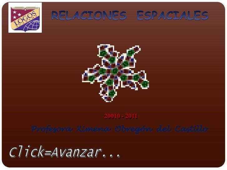 RELACIONES  ESPACIALES<br />20010 - 2011<br />Profesora  Ximena  Obregón  del  Castillo<br />Click=Avanzar...<br />