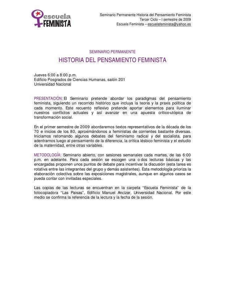 Seminario Permanente Historia del Pensamiento Feminista                                                               Terc...