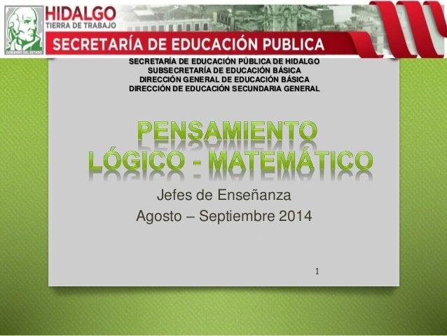 SECRETARÍA DE EDUCACIÓN PÚBLICA DE HIDALGO  SUBSECRETARÍA DE EDUCACIÓN BÁSICA  DIRECCIÓN GENERAL DE EDUCACIÓN BÁSICA  DIRE...