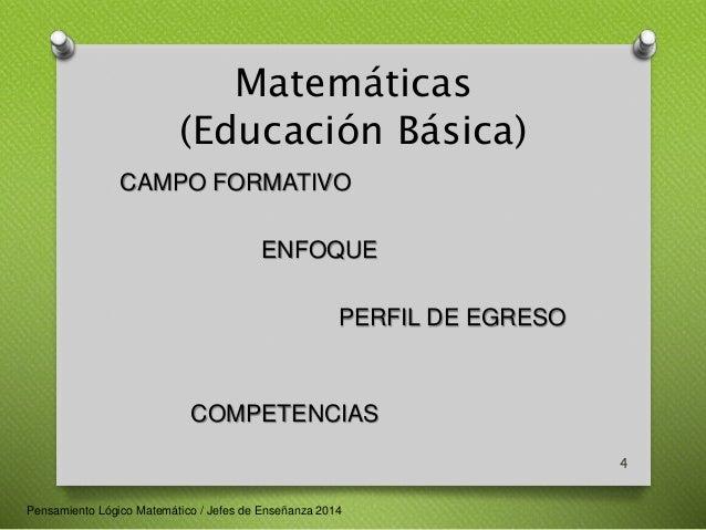 Matemáticas  (Educación Básica)  CAMPO FORMATIVO  ENFOQUE  PERFIL DE EGRESO  COMPETENCIAS  4  Pensamiento Lógico Matemátic...