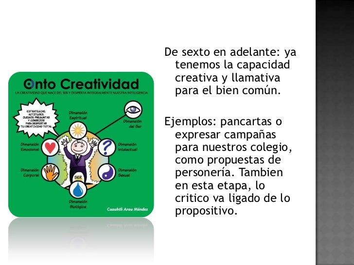 De sexto en adelante: ya tenemos la capacidad creativa y llamativa para el bien común.<br />Ejemplos: pancartas o expresar...
