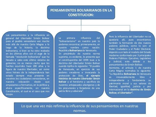 PENSAMIENTOS BOLIVARIANOS EN LA CONSTITUCION: Los pensamientos y la influencia en general del Libertador Simón Bolívar par...