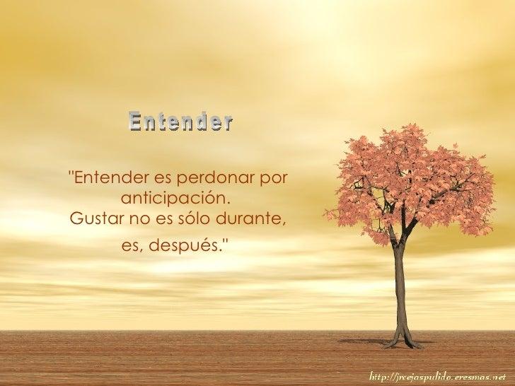 """""""Entender es perdonar por anticipación.  Gustar no es sólo durante, es, después.""""   Entender"""