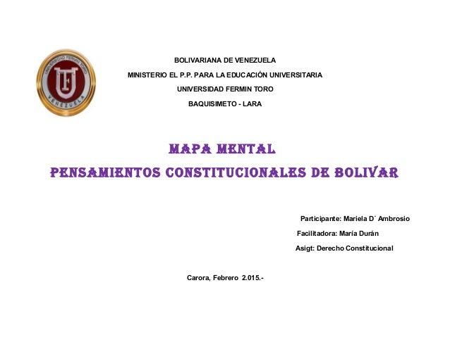 BOLIVARIANA DE VENEZUELA MINISTERIO EL P.P. PARA LA EDUCACIÓN UNIVERSITARIA UNIVERSIDAD FERMIN TORO BAQUISIMETO - LARA MAP...