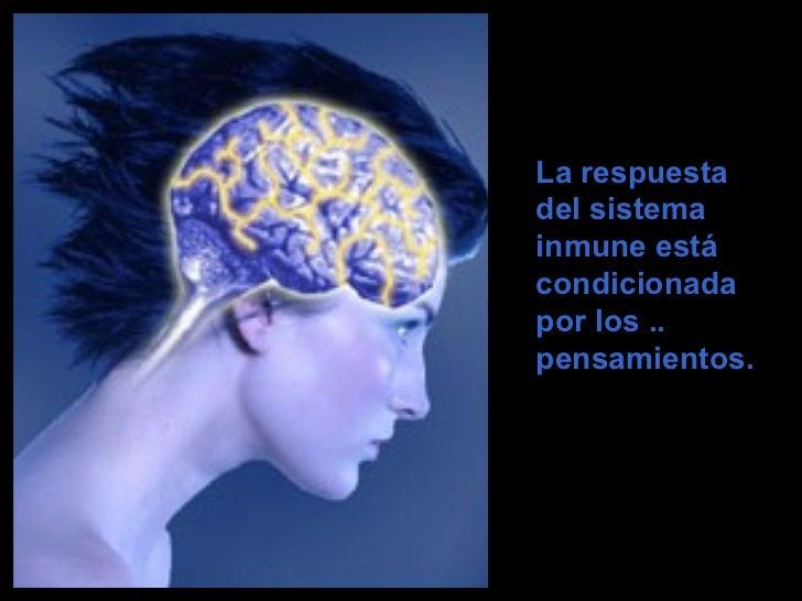 <ul><ul><ul><li>La respuesta del sistema inmune está condicionada por los .. pensamientos.  </li></ul></ul></ul>
