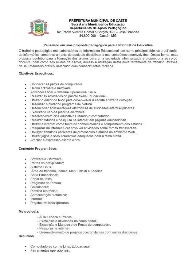 PREFEITURA MUNICIPAL DE CAETÉ                                  Secretaria Municipal de Educação                           ...