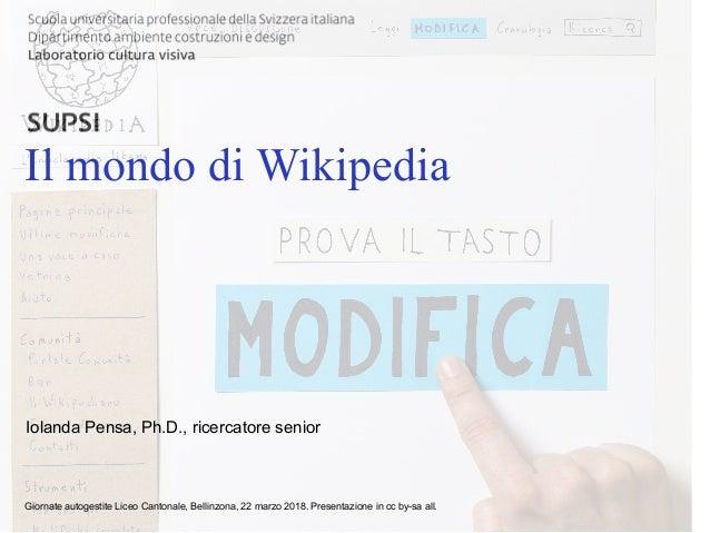 DACD / LCV / Titolo principale della presentazione Il mondo di Wikipedia Giornate autogestite Liceo Cantonale, Bellinzona,...