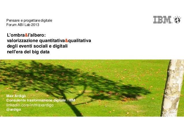 Pensare e progettare digitaleForum ABI Lab 2013Lombra&lalbero:valorizzazione quantitativa&qualitativadegli eventi sociali ...