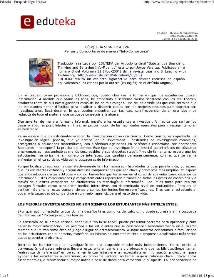 Eduteka - Busqueda Significativa                                                            http://www.eduteka.org/imprimi...