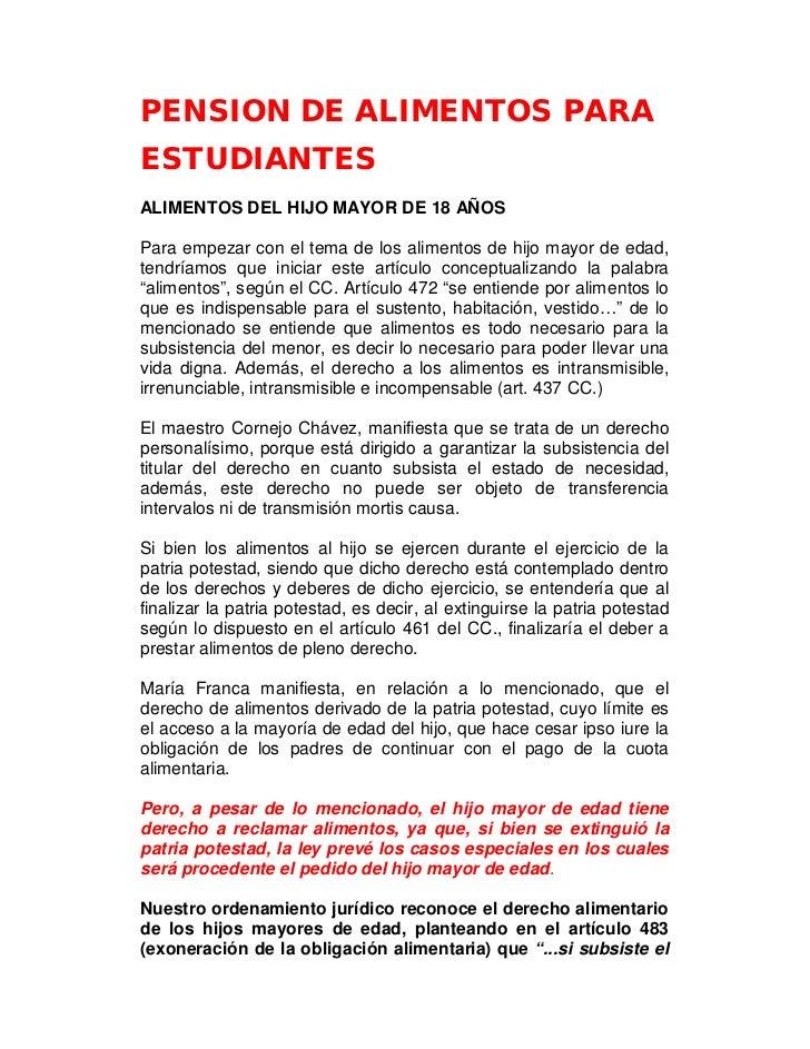 PENSION DE ALIMENTOS PARAESTUDIANTESALIMENTOS DEL HIJO MAYOR DE 18 AÑOSPara empezar con el tema de los alimentos de hijo m...