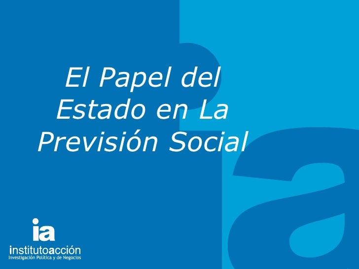 TITULO DEL TEMA El Papel del Estado en La Previsión Social