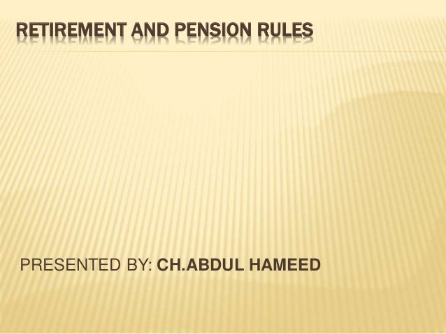 pension and retirement rules in punjab govt, of pakistan