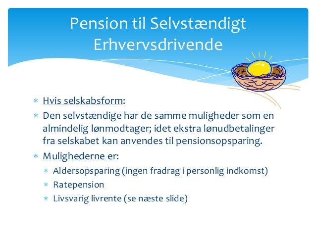 Pension til selvstændige, pixi