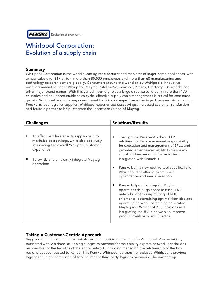 Whirlpool Corporation: Evolution of a supply chain  Summary Whirlpool Corporation is the world's leading manufacturer and ...