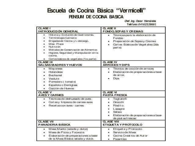 Pensum escuela de cocina basica vermicelli - Escuela de cocina ...