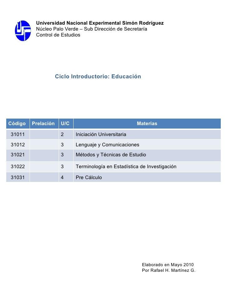 Ciclo Introductorio: Educación  Elaborado en Mayo 2010 Por Rafael H. Martínez G. Universidad Nacional Experimental Simón R...