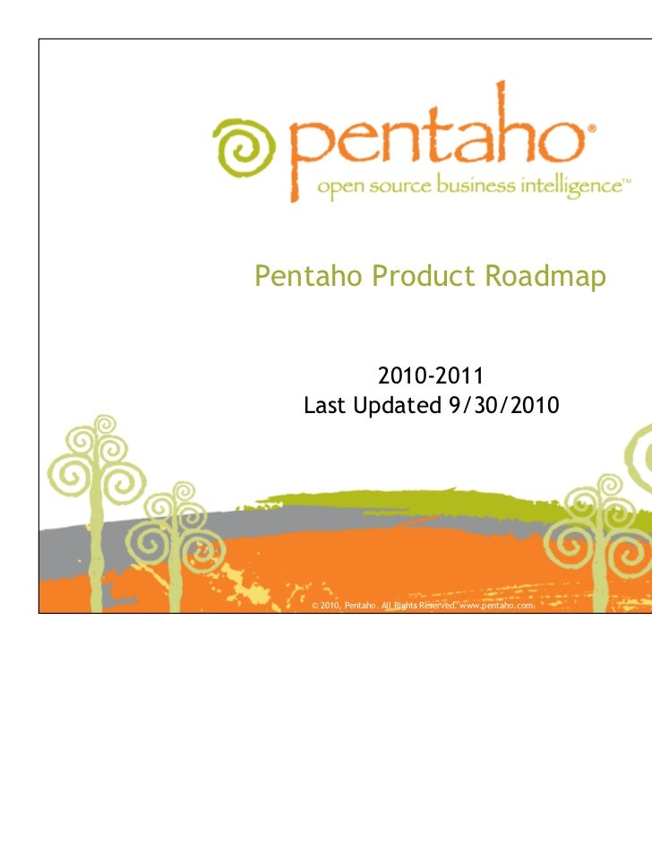Pentaho Product Roadmap          2010-2011   Last Updated 9/30/2010   © 2010, Pentaho. All Rights Reserved. www.pentaho.com.