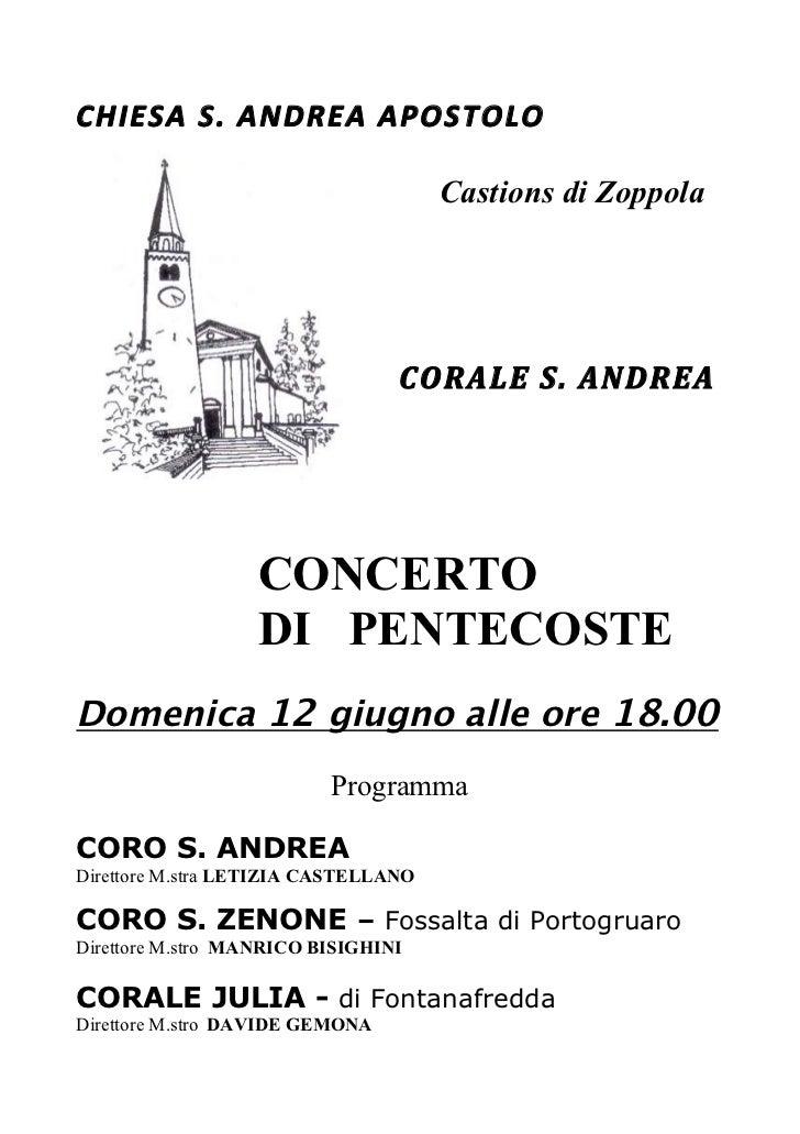 CHIESAS.ANDREAAPOSTOLO                                      Castions di Zoppola                                 CORALE...