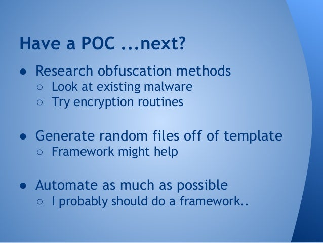 Next steps  ● Don't use a single script  ○ Maintaining can be a pain  ○ Not easily extensible  ○ A framework would be nice...