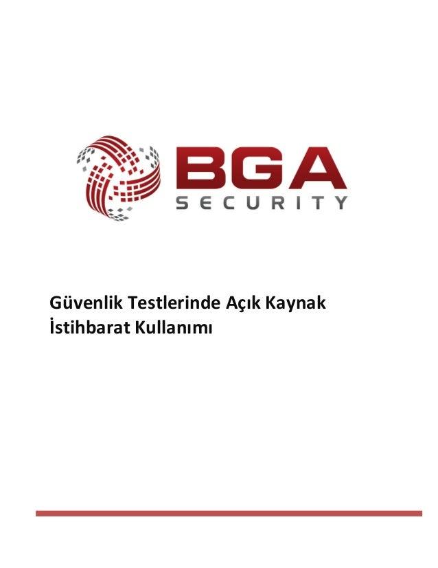Güvenlik Testlerinde Açık Kaynak İstihbarat Kullanımı