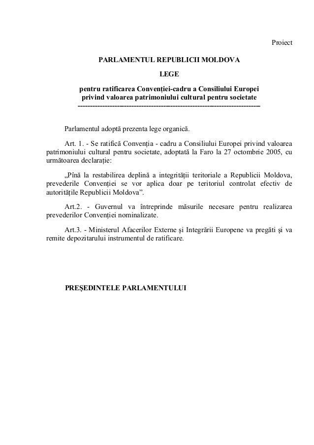 Proiect                   PARLAMENTUL REPUBLICII MOLDOVA                                            LEGE            pentru...