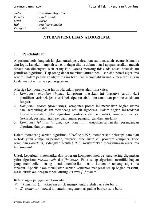 csa-interganesha.com Judul Penulis Level Hak Kategori  Tutorial Teknik Penulisan Algoritma  : Penulisan Algoritma : Edi Ca...