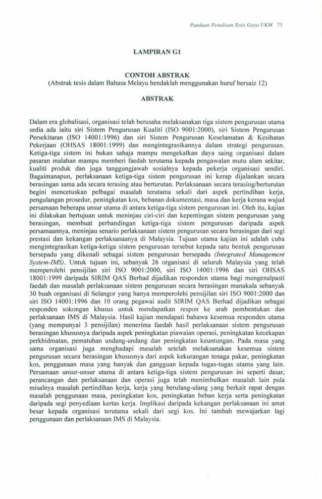 Buku panduan penulisan tesis gaya ukm