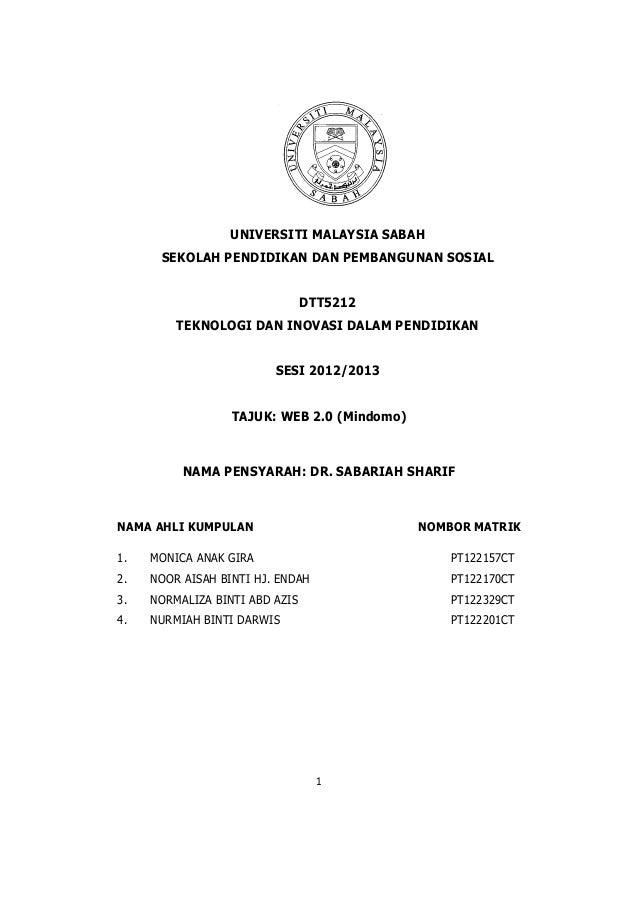 UNIVERSITI MALAYSIA SABAH      SEKOLAH PENDIDIKAN DAN PEMBANGUNAN SOSIAL                                DTT5212         TE...