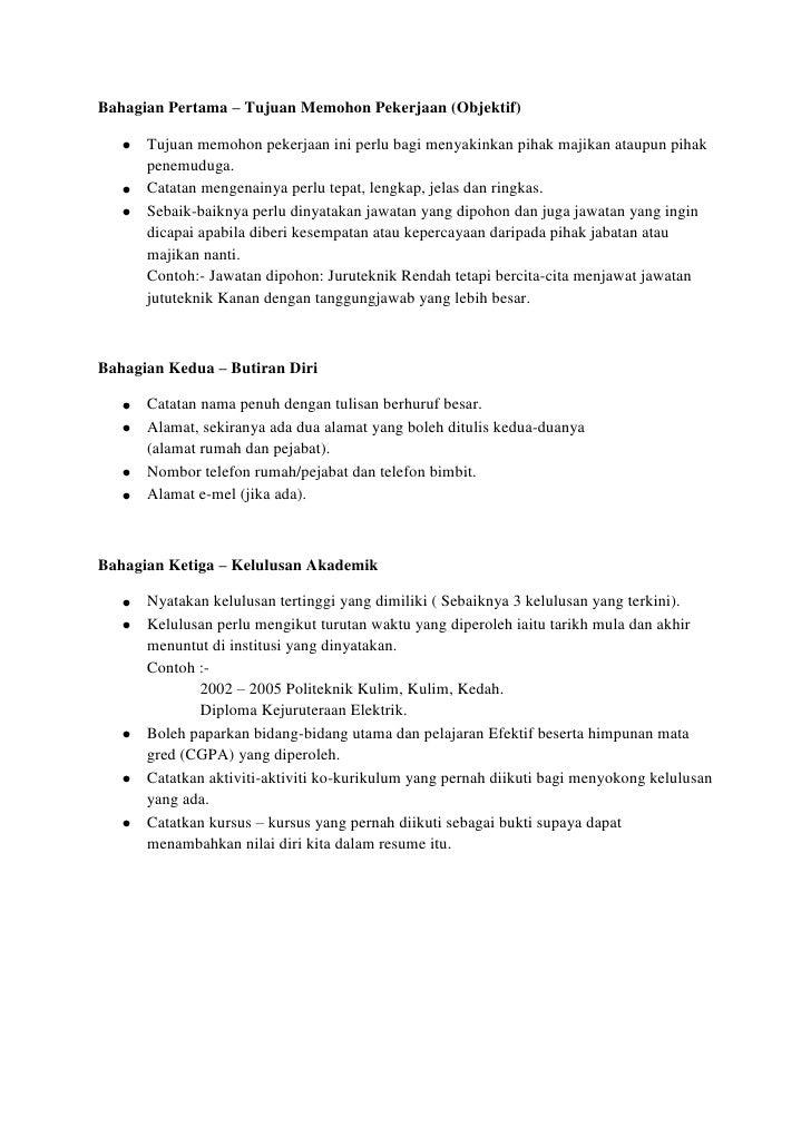 objektif dan matlamat kerjaya dalam resume