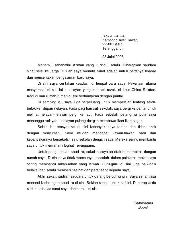Penulisan Surat Kiriman Tidak Rasmi