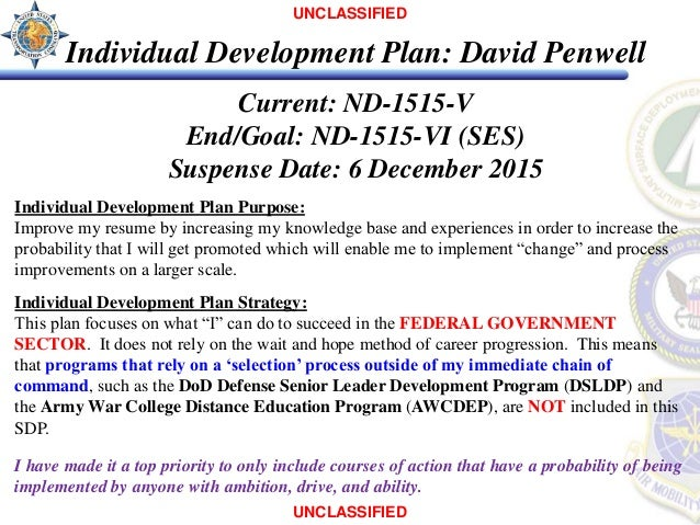 UNCLASSIFIED; 2. UNCLASSIFIED Individual Development Plan: ...  Individual Personal Development Plan Sample
