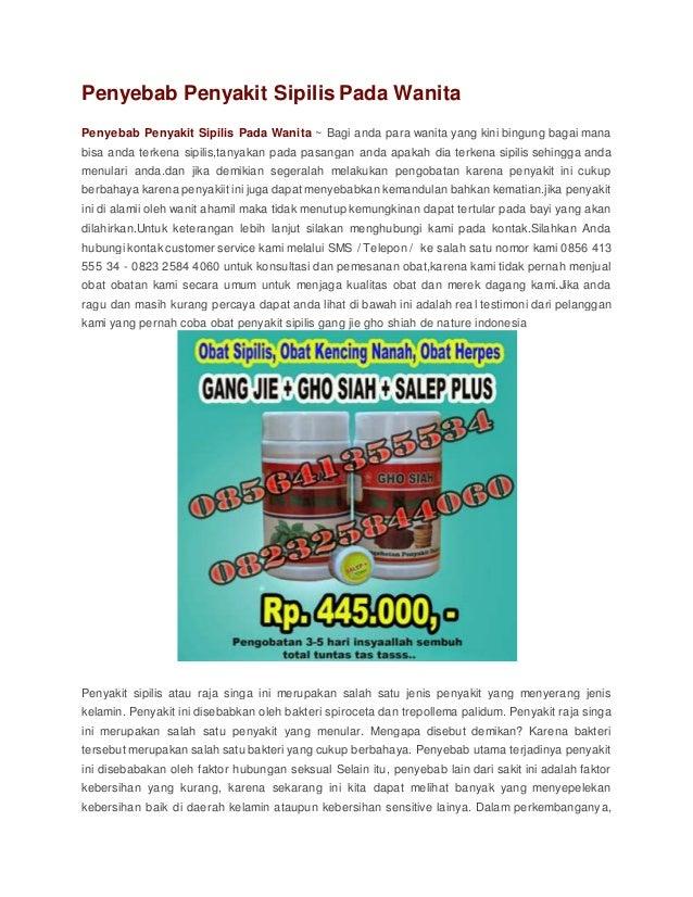 Penyebab penyakit sipilis pada wanita